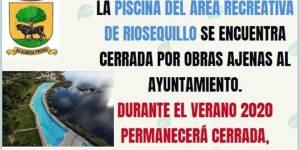 La piscina del Área Recreativa Riosequillo permanecerá cerrada durante el verano