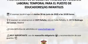 Convocatoria a examen de la Bolsa de trabajo de personal laboral temporal para el puesto Educadores/as Infantiles
