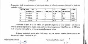 """Puntuaciones segundo ejercicio y final """"Plaza de Arquitecto"""""""
