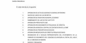 Convocatoria Pleno ordinario del Ayuntamiento de Buitrago del Lozoya, 3 de diciembre de 2020 a las 17:00 h