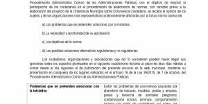 Consulta pública: Ordenanza de Convivencia Ciudadana, Ordenanza Municipal de Licencias Urbanísticas y Ordenanza Municipal de Tráfico y Movilidad
