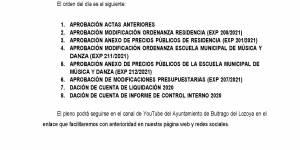 Convocatoria a Pleno sesión extraordinaria 27 de mayo de 2021 a las 18:30h