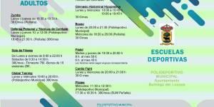 Abierto plazo de inscripción en las Escuelas Deportivas Municipales, temporada 2020/2021