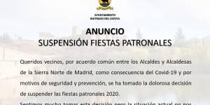 Suspensión de las Fiestas Patronales 2020