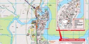 Plano de líneas del Consorcio Regional de Transportes y callejero de Buitrago del Lozoya