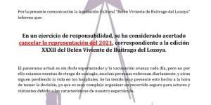 """Nota informativa de la Asociación cultural """"Belén Viviente de Buitrago del Lozoya"""""""